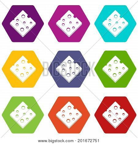 Cheese fresh block icon set many color hexahedron isolated on white vector illustration