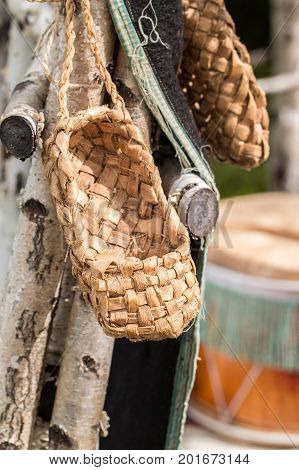 The wicker shoes of the rural population of Russia called bast shoes