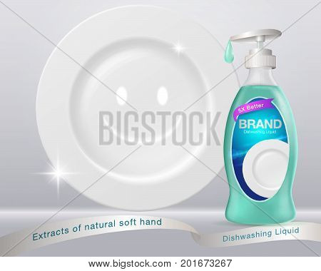 Ads Dishwashing Liquid...Dishwashing bottle form Used for advertising such as posters flyers books Internet...illustrations advertising. Vector realistic.