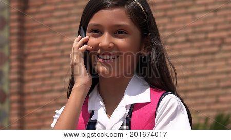 A Pretty Girl Making A Phone Call