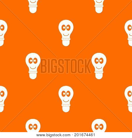 Smiling light bulb with eyes pattern repeat seamless in orange color for any design. Vector geometric illustration