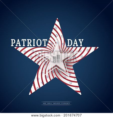 Vector poster of Patriot Day with silhouette in the shape of a star with spiral red stripes blue stars and text on the dark blue background.