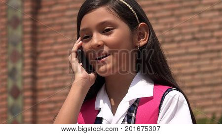 A Youthful Colombian Girl Making Phone Call