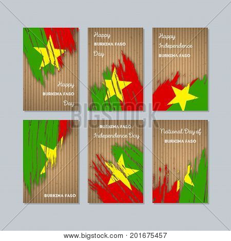 Burkina Faso Patriotic Cards For National Day. Expressive Brush Stroke In National Flag Colors On Kr