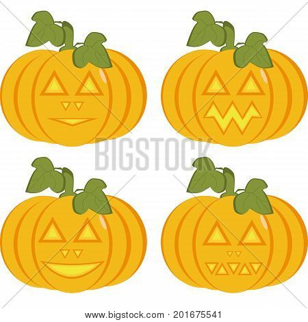 A set of isolated icons of yellow pumpkins with carved horrible and smiling faces. Objects can be used as Jack-o-lantern for decorating postcards and illustrations for the celebration of Halloween