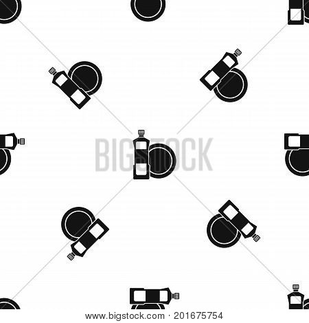 Dishwashing liquid detergent and dish pattern repeat seamless in black color for any design. Vector geometric illustration