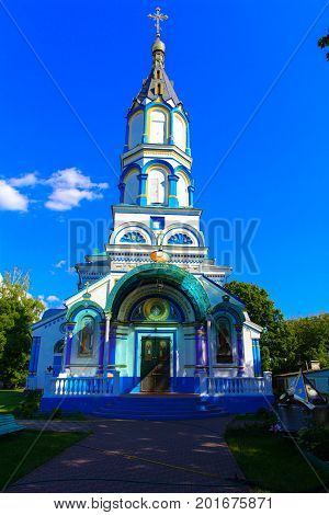 The Holy Ilyinsky temple in the dead radioactive zone functions as the only parish in the Chernobyl zone. Consequences of the Chernobyl nuclear disaster August 2017.