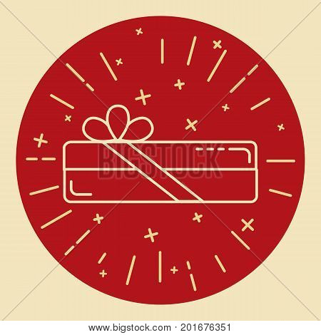 Rectangular gift box icon in thin line style. Shining present box with bow in round frame.