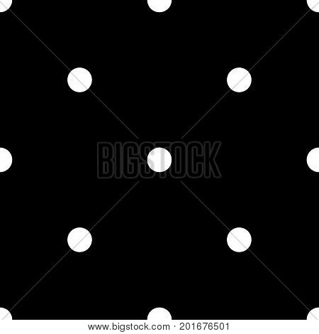 White Polka Dots Seamless Pattern On Black Background. Dazzling Classic White Polka Dots Textile Pat