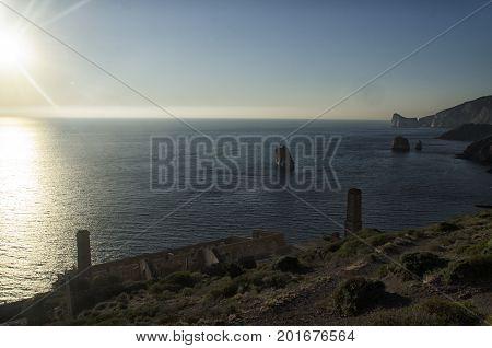View of the Sardinian coastline near Nebida