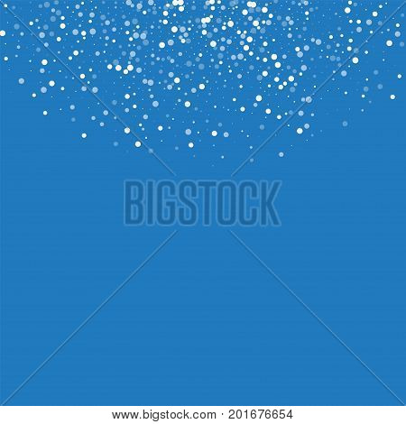 Random Falling White Dots. Top Semicircle With Random Falling White Dots On Blue Background. Vector