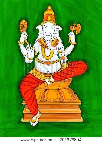 Vector design of Abstract Statue painting of Indian Lord Ganesha sculpture