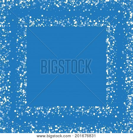 Random Falling White Dots. Square Scattered Frame With Random Falling White Dots On Blue Background.