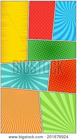 Comic book page vertical background of colorful frames dividing by lines with radial, dotted, halftone effects in pop-art style. Blank template. Vector illustration