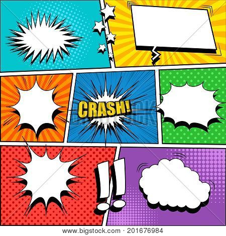 Comic book page template with blank white speech bubbles, rays, radial, sound, halftone, dotted effects, stars and exclamation marks. Vector illustration