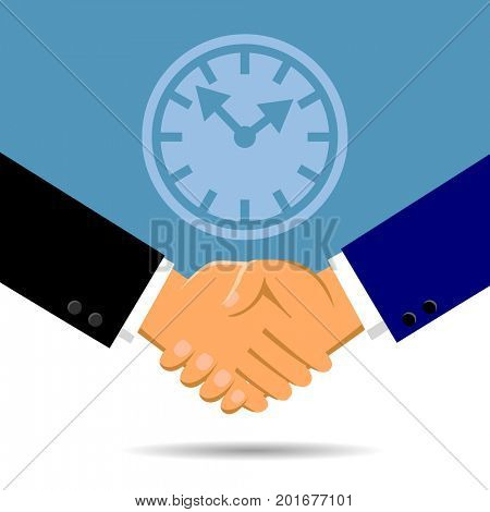 Handshake and a clock in flat style. Symbol and metaphor of business time partnership