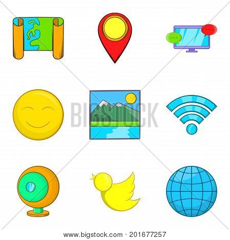 Picture icons set. Cartoon set of 9 picture vector icons for web isolated on white background