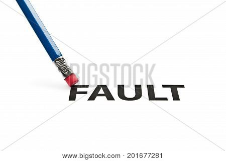 A pencil with eraser is correcting fault. Eraser and fault concept. To erase fault.