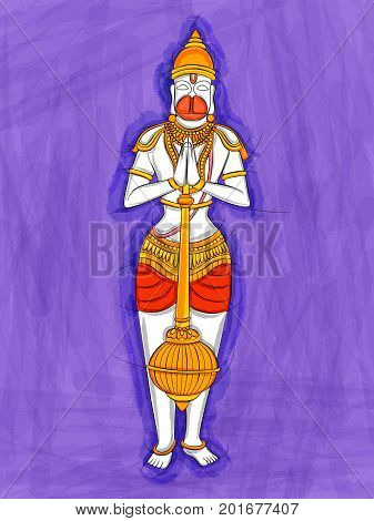 Vector design of Abstract Statue painting of Indian God Hanuman sculpture