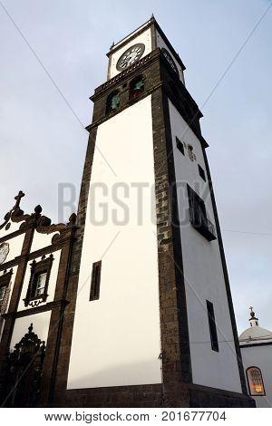 Facade of the Saint Sebastian (Igreja Matriz de Sao Sebastiao) in Ponta Delgada Sao Miguel Azores Portugal