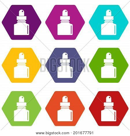 Black inkwell icon set many color hexahedron isolated on white vector illustration