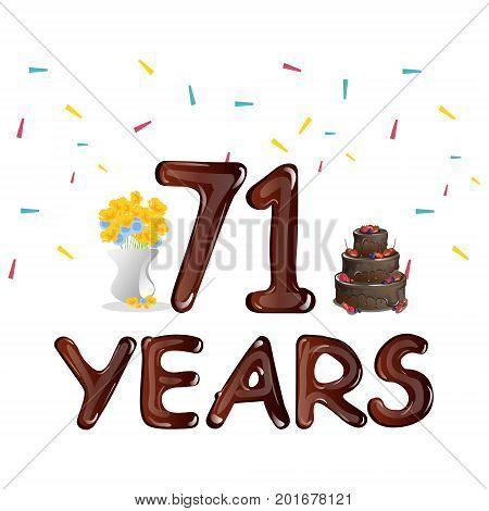 Happy Birthday seventy one 71 year. Vector illustration