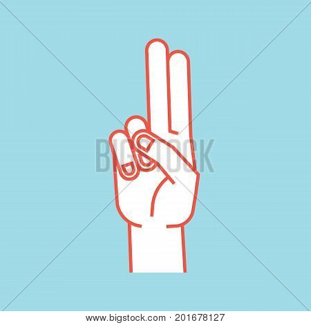 Gesture. Stylized hand with index and middle finger connect and up. Icon. Vector illustration on a blue background. Making promise sign by hands. Orange lines and white silhouette. Logo. Print.