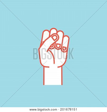 Gesture. Power sign. Stylized hand with all fingers clenched. Vector illustration on blue background. Icon. Making strength sign by hand. Orange outline and white silhouette. Logo.
