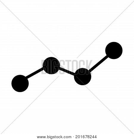 Growing business graph silhouette icon. Chart symbol.  Vector illustration in flat style