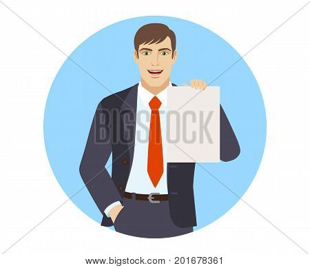 Businessman with hand in pocket showing the blank paper. Portrait of businessman in a flat style. Vector illustration.