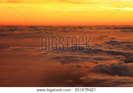 Sunrise over the Atlantic Ocean, seen from Pico Volcano, Azores, Portugal