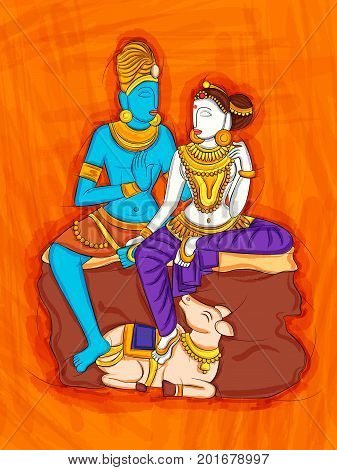 Vector design of Abstract Statue painting of Indian Lord Shiva and Parvati sculpture