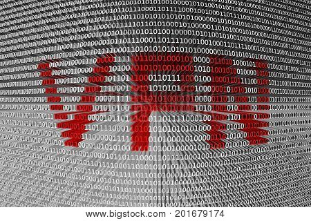 VPN in the form of binary code, 3D illustration