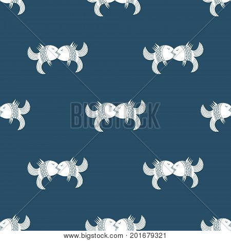 Seamless vintage ornament kissing fish on dark blue background. Hand drawn background. Perfect for printing on fabric or paper.