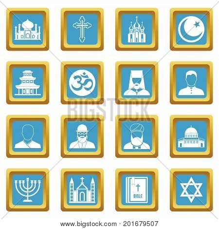 Religious symbol icons set in azur color isolated vector illustration for web and any design
