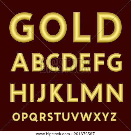A complete set of Latin letters made from gold thick wire with a matte surface. Font is isolated by a velvety dark crimson background. Letters are made in 3D shapes with smooth edges. Vector illustration.