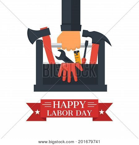 Happy Labor day, concept. Toolbox with tools in hands of builder. Hand tools for repair and restoration. Vector illustration flat design. Isolated on white background.