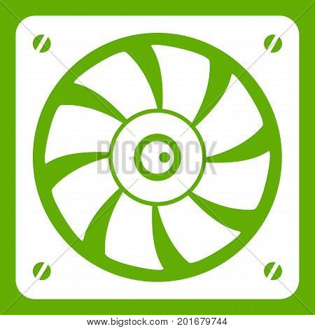 Computer fan icon white isolated on green background. Vector illustration