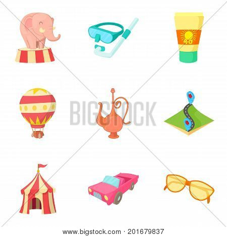 Experience icons set. Cartoon set of 9 experience vector icons for web isolated on white background