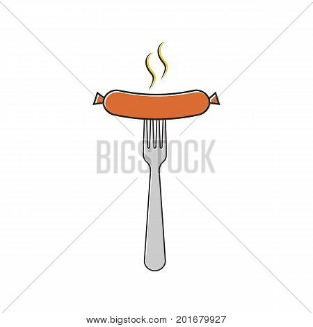 Sausage on a fork line icon flat style design, isolated on white background. Grilled sausage a poster template for an invitation to a party. Object for web and print.