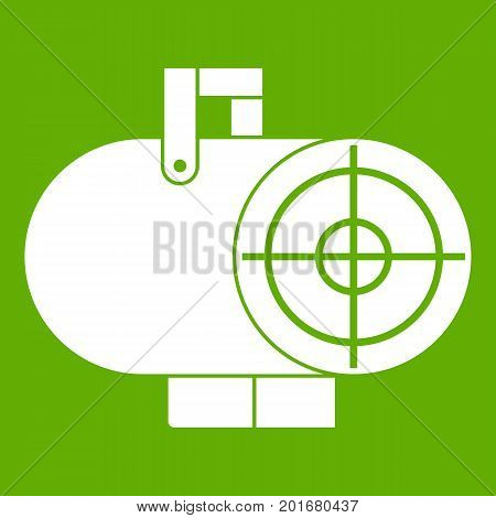 Industrial fan heater icon white isolated on green background. Vector illustration