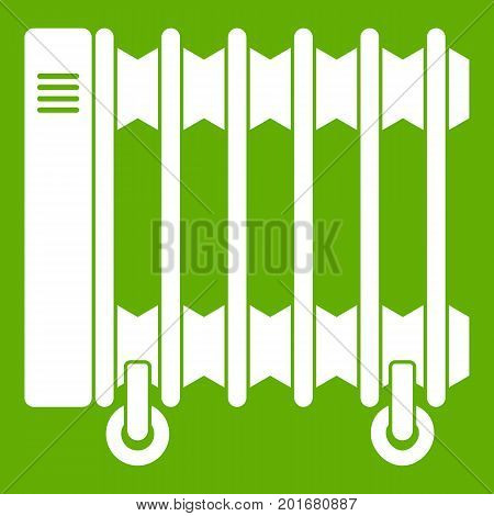 Oil electric heater on wheels icon white isolated on green background. Vector illustration