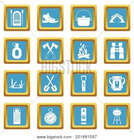 Recreation tourism icons set in azur color isolated vector illustration for web and any design