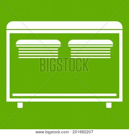 Home equipment for heating icon white isolated on green background. Vector illustration