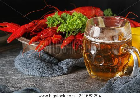 Delicious Boiled Crayfish Close-up, Lemon And Parsley With Beer.