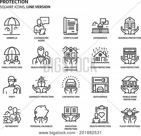 Protection, Square Icon Set