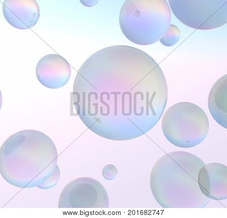 3D blue soap bubbles over colorful background. 3D rendering.