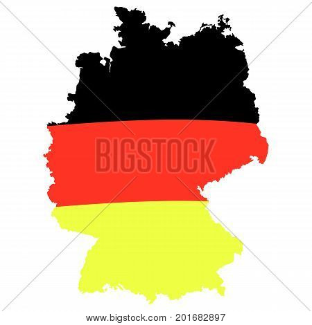 German flag on map. Vector illustration isolated on white. Template for Traditional German beer festival.