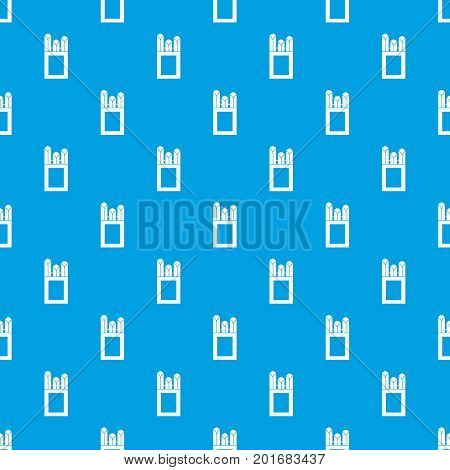 Chalks in carton box pattern repeat seamless in blue color for any design. Vector geometric illustration