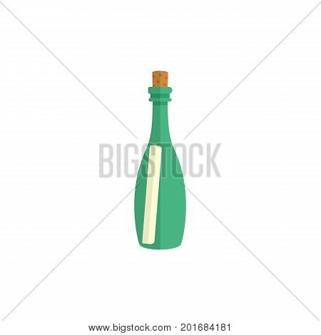 Message, letter, scroll in transparent glass bottle, simple flat style cartoon vector illustration isolated on white background. Flat cartoon vector illustration of message in bottle
